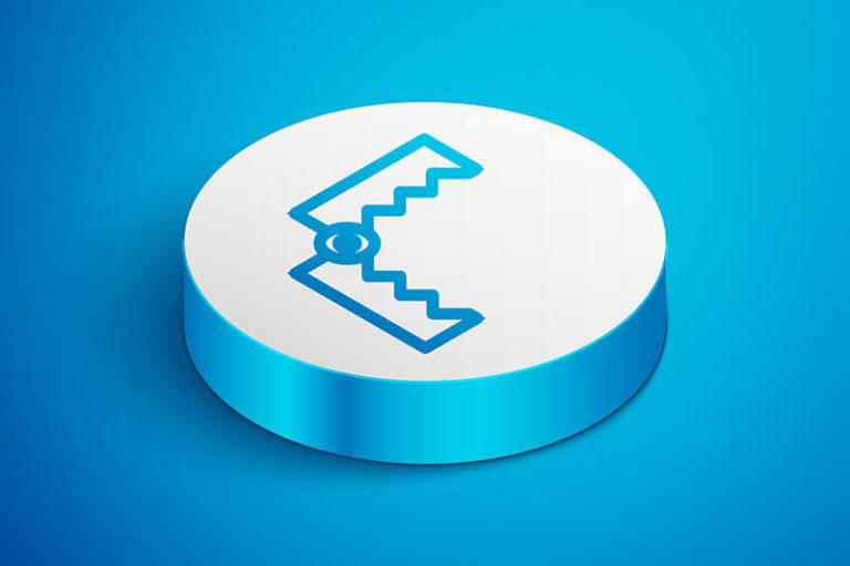 Illustration of a blue hinge joint on a raised white circle on a blue background